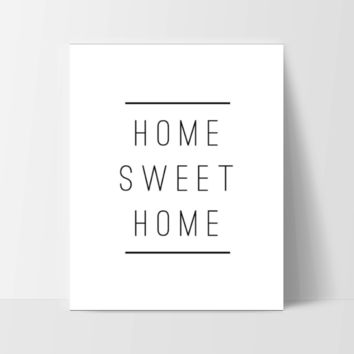 "Motivational Quote Poster ""Home Sweet Home"" Home Office Dorm Decor White"