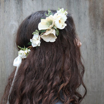 Ivory Woodland Flower Crown, Bridal Headpiece, Bridal Flower Crown, Weddings, Flower Girl, Ivory Hair Wreath, Wedding Halo, Circlet, Flower