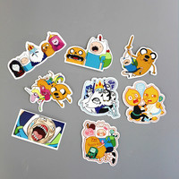 TD ZW 8Pcs/Lot American Drama Adventure Time Funny Sticker Decal For Car Laptop Bicycle Motorcycle Notebook Waterproof Stickers