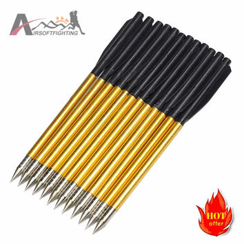 "12pcs pack Archery Sports Aluminum Material Bolts Arrow For 50 lb 80 lb Pistol Crossbow Tactical 6.5"" Accurate Arrow Golden@"