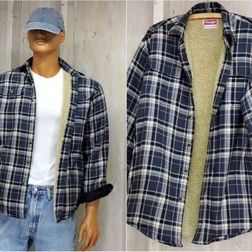 Vintage Wrangler flannel sherpa jacket / Size S / shearling lined flannel shirt / western /90s grunge / blue plaid flannel