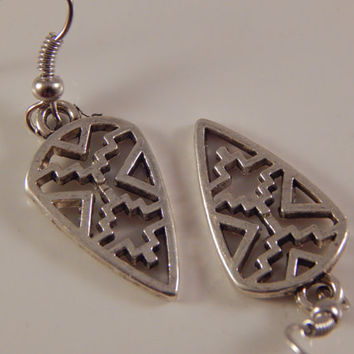 "Fun Tribal print antique silver ""shield"" earrings - double sided simple drops"