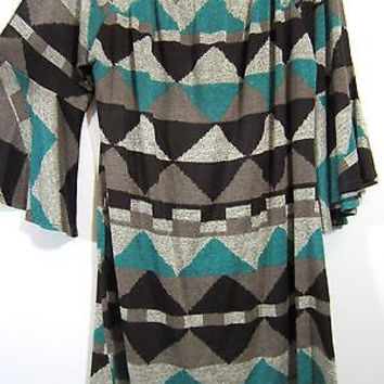 BELLAMIE SHORT TUNIC DRESS S-M-L-XL TEAL BROWN MOCHA RUFFLE SLEEVE