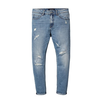 Relaxed Fit Destroyed Light Wash Denim
