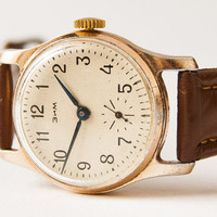 Men's wristwatch ZIM - Soviet vintage watch - brown leather watch