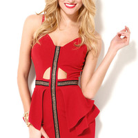 Red Sleeveless Peplum Dress with Patchwork Detail