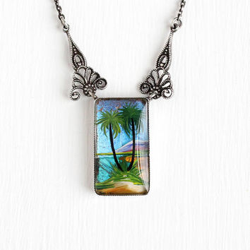 Vintage Sterling Silver Blue Morpho Butterfly Wing English Necklace - Art Deco 1930s Palm Tree Filigree TLM Thomas L. Mott England Jewelry