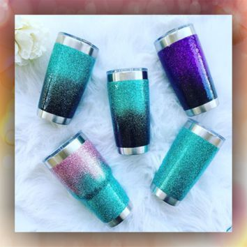 Two Color Ombre - STAINLESS STEEL MUG - glitter dipped or painted - coffee mug - tumblers