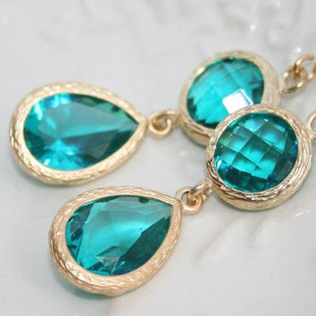 Blue zircon Drop Earrings, Matte gold framed Teardrops, Teal turquoise Earrings, Bridesmaid Gifts, Glass briolette earrings ,Wedding -Maids