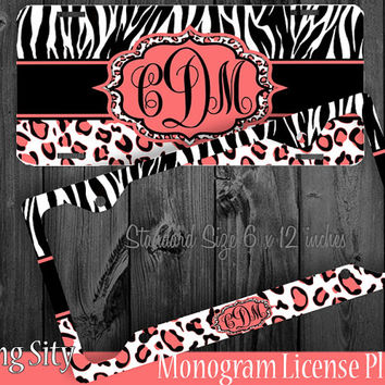Leopard Monogram License Plate Frame Holder Coral Peach Zebra Snow Cheetah Animal Print Pattern Personalized Custom Vanity Tag Cover
