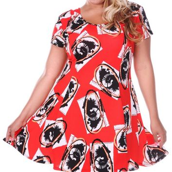 Plus Size Floral Print Fit-and-Flare Swing Dress Red