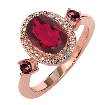 1.79 Ct Mystic Topaz Rhodolite Garnet 18K Rose Gold Plated Silver Ring