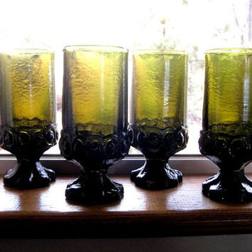 Vintage Franciscan Madeira Avocado 12 ounce Iced Tea or Water  goblets Set of Four MINT