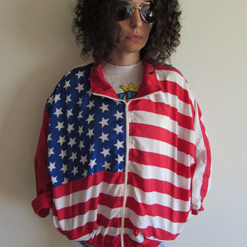 Vintage 80/90s Hipster American Flag Red White and Blue Stars and Stripes Windbreaker Jacket