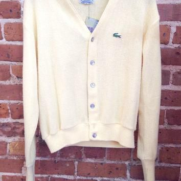 Vintage Yellow Lacoste Cardigan Size medium Preppy Cardigan