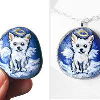 Chihuahua Necklace, White Dog Pendant, Memorial Gift, Pet Jewelry, Guardian Angel, Pet Loss, Angel Wings
