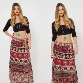 Vintage 90s ETHNIC Wrap Skirt BOHO Festival Skirt Indian Elephant Print Maxi Skirt Cotton Hippie Skirt