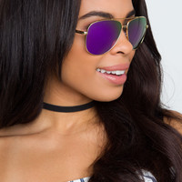 Wind Me Up Aviator Sunglasses - Violet