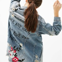 2017 spring new women's fashion long sleeve hole denim jacket, letter printing long OUTERWEAR female casual loose denim coats