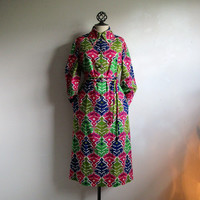 RARE 60s Star of Siam Dress Vintage Bangkok Maxi Pink Green Funky Geometric 1960s Dress14