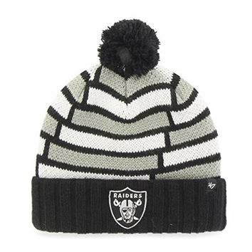 NFL Oakland Raiders '47 Breakout Cuff Knit Hat with Pom, One Size Fits Most, Black
