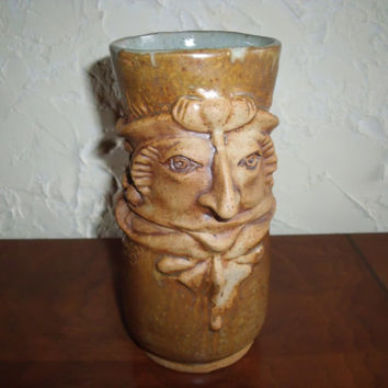 Collectible Pottery Porcelain China Face Jug Featuring a Colonial Man Toby Jug Style Tankard Or Stein