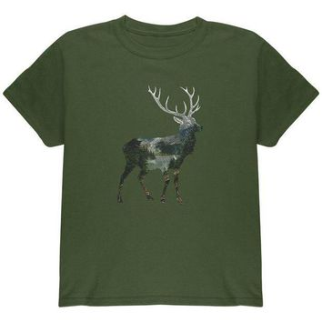 PEAPGQ9 Deer Forest Nature Hiking Hunting Youth T Shirt