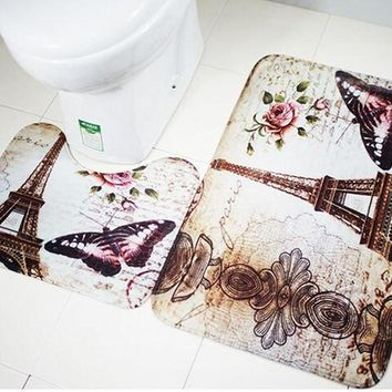Soft Paris  Bath Pedestal Rug Cover Bathroom Bath Mat Set Household Bathroom Carpets Design Decor Houseware 2Pcs