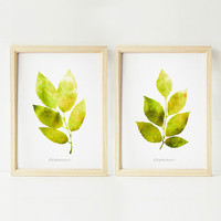 Lime green leaves prints, Printable art, Chartreuse green home decor prints, 5x7 Printable wall art Set of botanical prints, Nature wall art