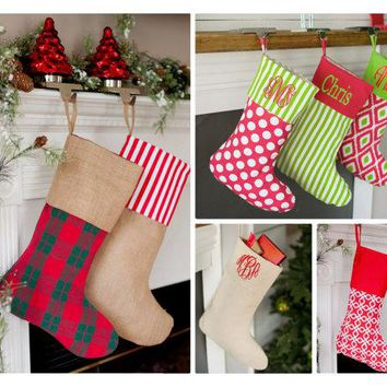 Monogram Christmas Stocking, Christmas Stocking, Plaid