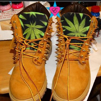 PreSchool Kids- Custom Spiked Toddler Timberland Green Cannabis Marijuana Weed Print K