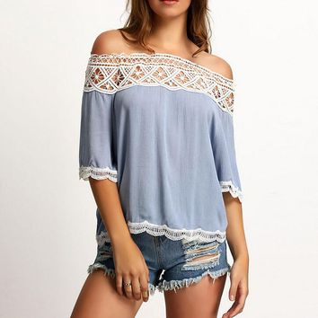 Womens Hollow Out Lace Patchwork Chiffon Shirts Off Shoulder Top +Free Gift -Random Necklace-116