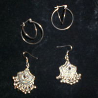 Vtg Silver Plated Double 3 D Hoops 80 S & New Tribal India Bell Mirror Silver Earrings (Vintage)