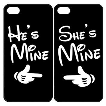 He's Mine She's Mine Samsung Galaxy S3 S4 S5 Note 3 4 , iPhone 4 4S 5 5s 5c 6 Plus , iPod Touch 4 5 , HTC One M7 M8 ,LG G2 G3 Couple Case