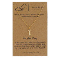 Master Key Necklace - Gold Key Necklace Simple Dainty Necklace Graduation Gift Idea Delicate Message Jewelry Meaningful Unlock Potential