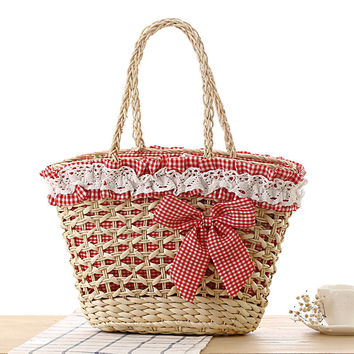 Hollow Out Pleated Lace Bowknot Casual Woven Beach Bag Shoulder Bag [6580686151]