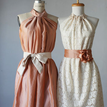 mismatched bridesmaid dresses / Dress / Bridesmaid / Romantic / peach lace cream  / Fairy / Dreamy / Bridesmaid / Party / wedding / Bride