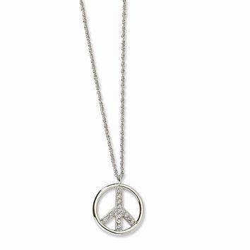 """Silver-tone Crystal Peace Symbol 16"""""""" w/ext Necklace"""