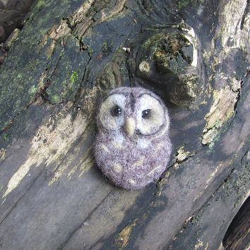 Tawny owl needle felted brooch by HandmadeByNovember on Etsy