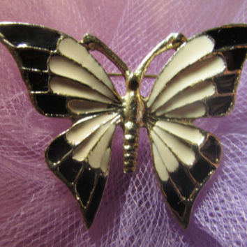 Vintage Butterfly Brooch Black, White, Enamel .Gold Tone.