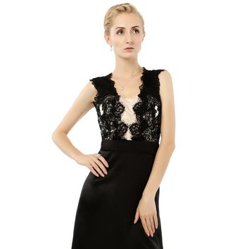 New Fashion Elegant Sexy Beaded Sash Black Evening Party Gowns Long Prom Dresses