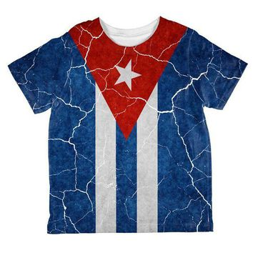PEAPGQ9 Distressed Cuban Flag All Over Toddler T Shirt