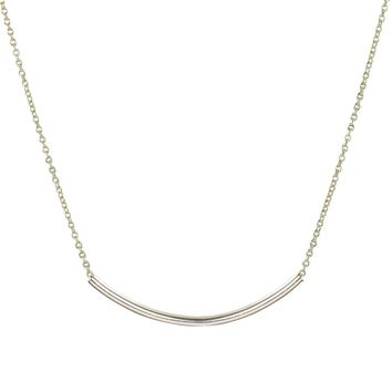 Minimalist silver bar necklace on silver filled chain