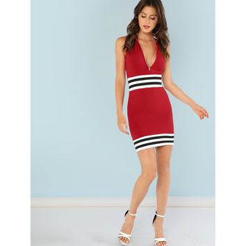 Zip Front Sleeveless Dress with Stripe Detail
