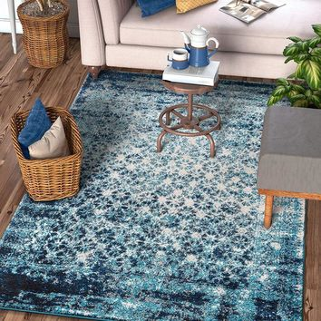 6116 Royal Blue Moroccan Vintage Distressed Area Rugs