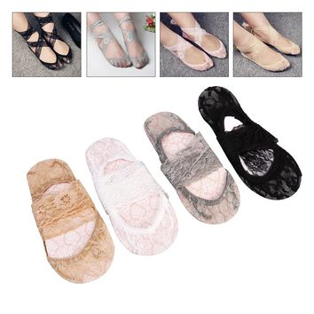 4 Pairs Women Low Cut Liner Socks Semi-sheer No Show Invisible Lace Socks Anti-Skid with Front Sponge Pad and Cross Tie Band
