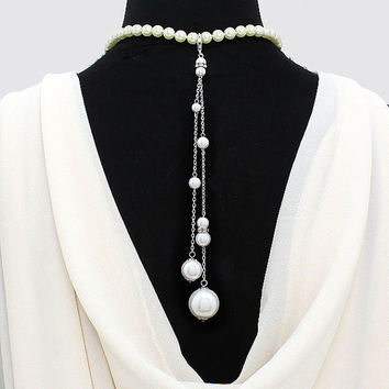 Bohemian Double Pearl Bridal Back Drop Jewelry, Celebrity Inspired Back drop Necklace, Back Jewelry, Backdrop Necklace, Wedding Jewelry
