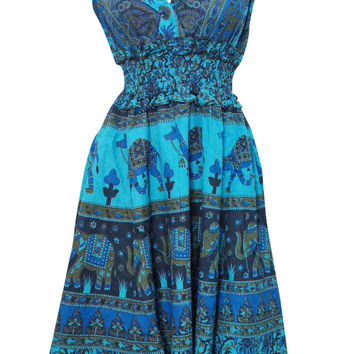 Bohemian Dress V-neck Animal Printed Cotton Blue Peasant Dresses