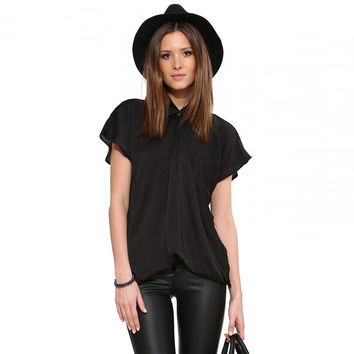 Black One Button Single Pocket Short Sleeve Loose Blouse