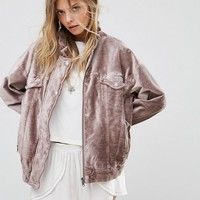 Free People Velvet Trucker Jacket at asos.com